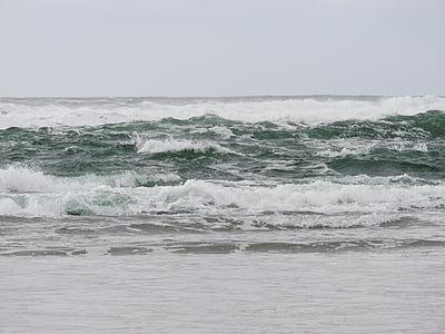 ones, oceà, platja, Costa, Oregon, sobre les onades, Mar