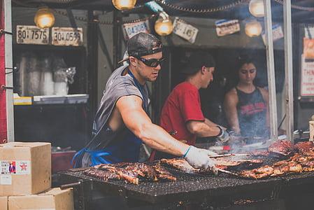 barbacoa, barbacoa, xef, cuina, flama, aliments, mercat