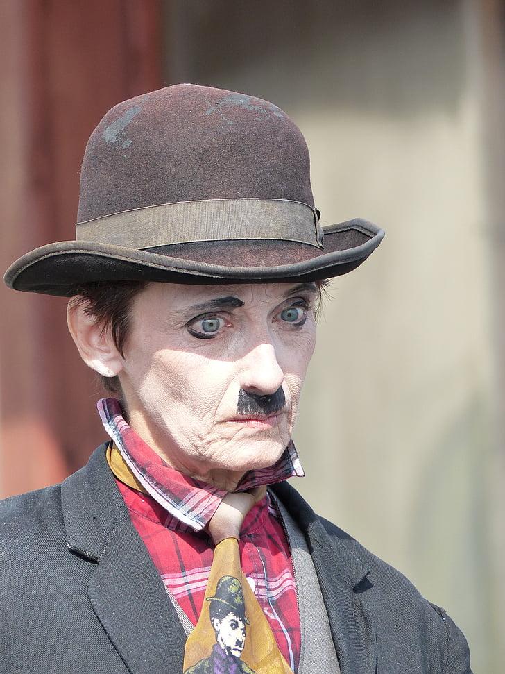 beard, charlie chaplin, circus, comedian, costume, entertainment, expression