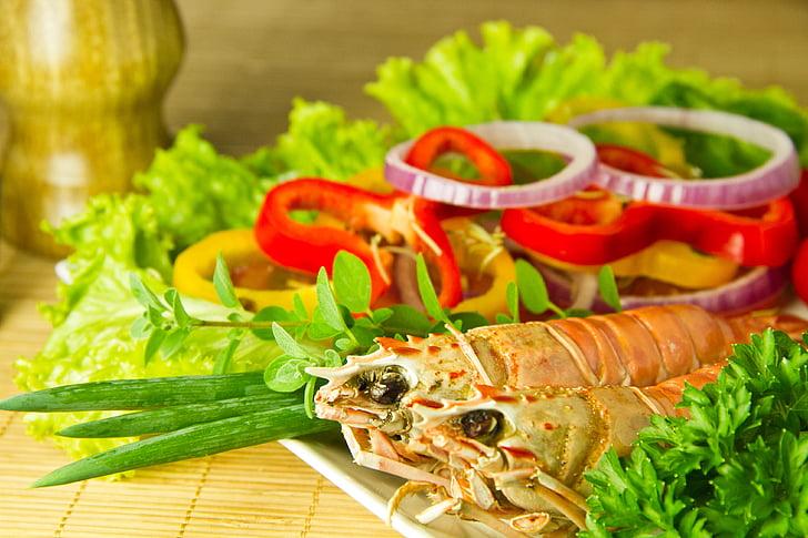 culinária, comida, uma alimentação saudável, refeição, almoço, camarão, frescura