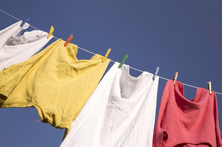 washing, blue sky, clothes, clothing, laundry, hanging