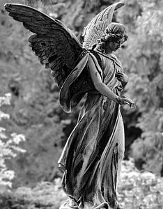 Ángel, estatua de, Figura, Cementerio, piedra, escultura, obra de arte