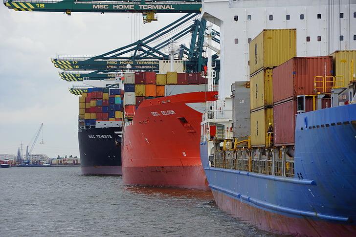 安特卫普, 比利时, 小船, 集装箱, 集装箱起重机, 容器, 分布