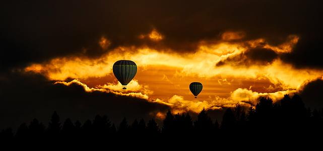 resor, fluga, ballong, Sky, solnedgång, humör, moln