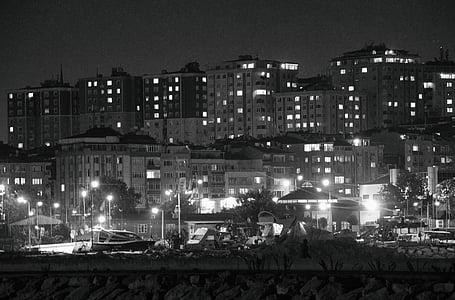 thành phố tối tăm, thành phố, màu đen và wight, tối, đô thị, đêm, thành phố đêm