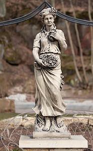 marmorstaty, staty, kvinna, konst, kultur, antiken, trädgård