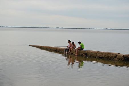 spring, fishing, children, nature, green vegetation, water, two people