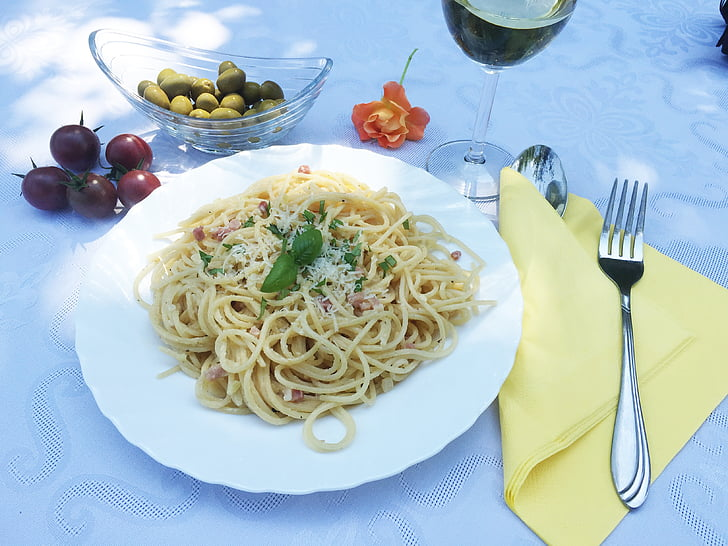 menjar, pastes, cuina, sopar, aliments, gust, Espaguetis