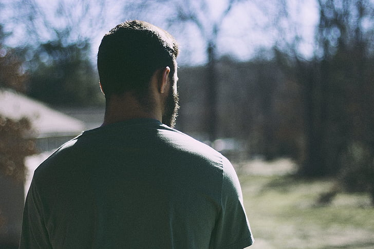man, male, outdoors, person, looking, one, rear view