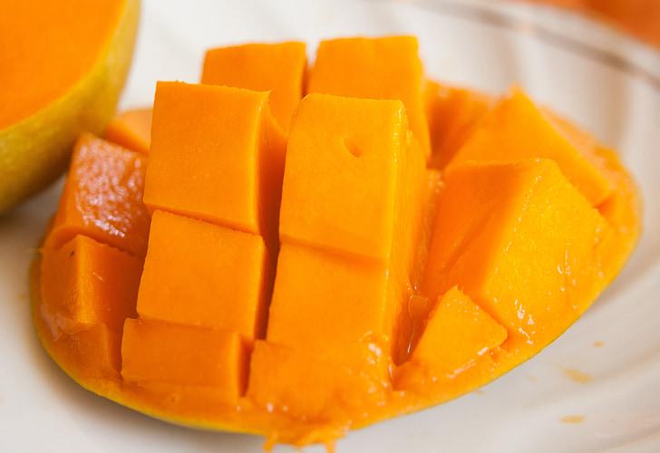 Mango, ovocie, plátky, exotické, Orange, zrelé, jedlo