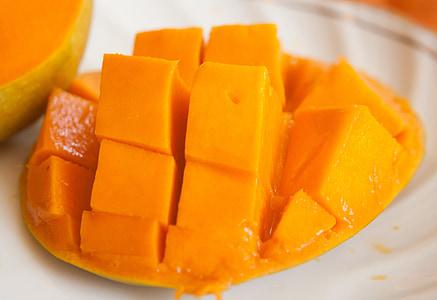 Mango, voće, narezane, egzotične, narančasta, zrela, hrana