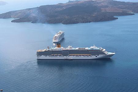 vasaras brīvdienas, kruīza, kuģi, Santorini, Kosta deliziosa, Aida, kruīza kuģis