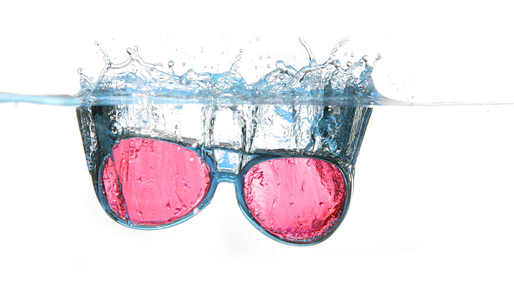 glasses, water, spray, water surface, diving, blow, spill over