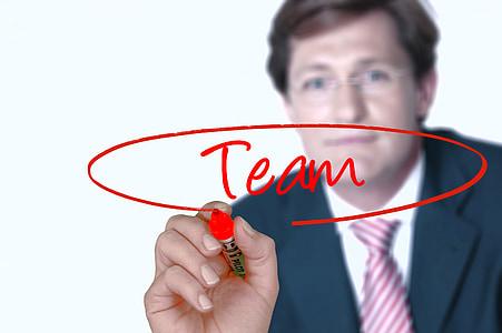 Geschäftsmann, Team, Hand, verlassen, Glas, transparente, Manager