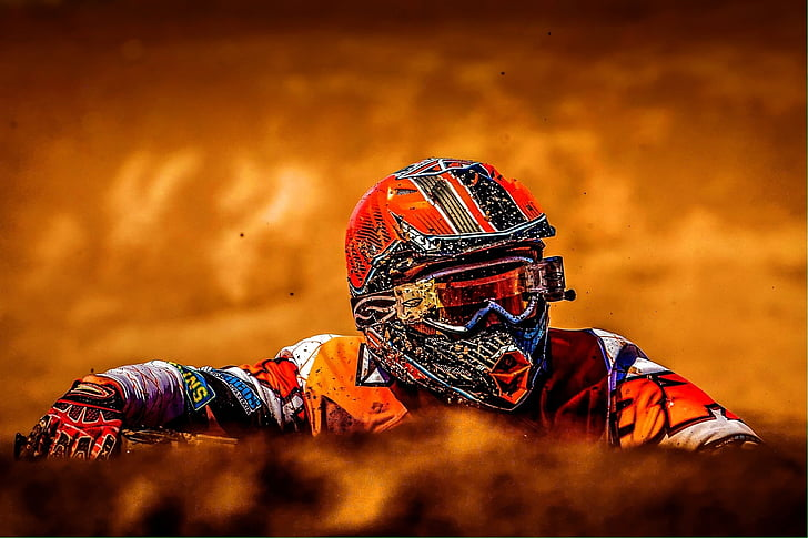 photo, man, wearing, orange, motorcycle, helmet, sports
