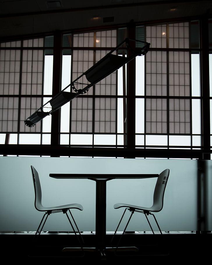 tabel, stoelen, binnenkant, Indoor, gebouw, Office, venster