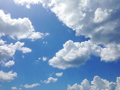 облаците, небе, синьо, природата, времето, бяло, въздух