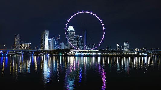 Singapura, bianglala, roda besar, Sungai, cakrawala, bangunan, air
