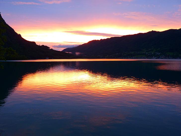 solnedgång, abendstimmung, sjön, vatten, moln, Attersee, naturen