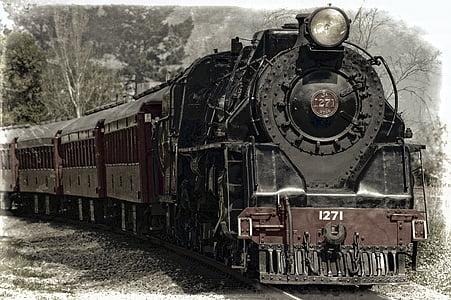 lokomotiv, damplokomotiv, tog, monument, jernbanen, kjøretøy, jernbane