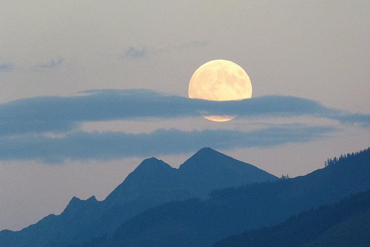 повний місяць, місяць, супер місяць, Хмара шлейф, Сутінки, відтінків кольору, гори