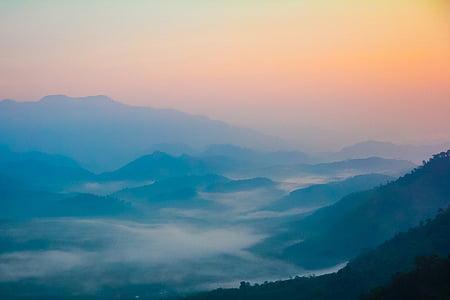 Mountain, solnedgång, äventyr, landskap, bergets topp, Thailand, betong