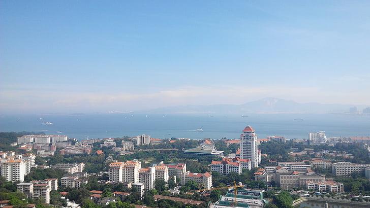 el paisatge, Xiamen, amb vista sobre la, paisatge urbà, silueta urbana, Panorama urbà, arquitectura