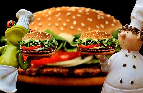 hamburguesa, hamburguesa amb formatge, xefs, divertit, aliments, preparació, barret de cuiner