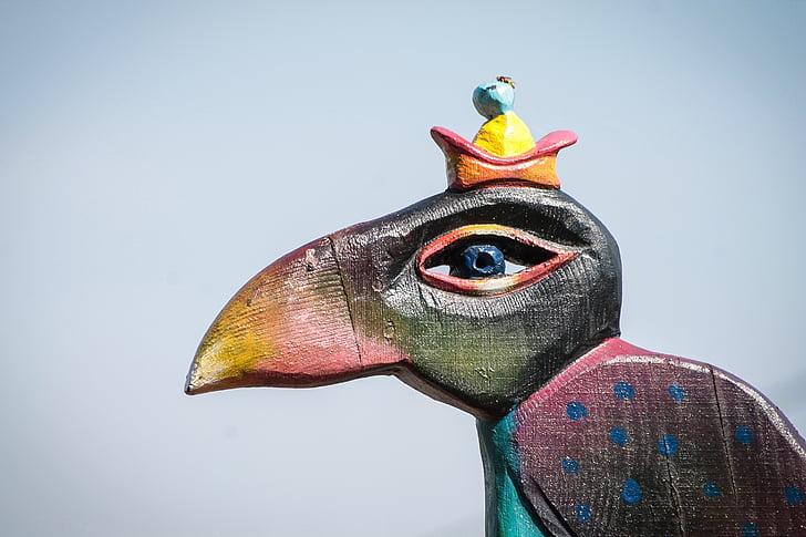 statue, wooden sculpture, wood, material, texture, bird, beak