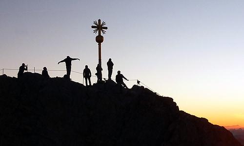 zugspitze, mountaineer, sunrise, shadow play, climber, climb, mountaineering