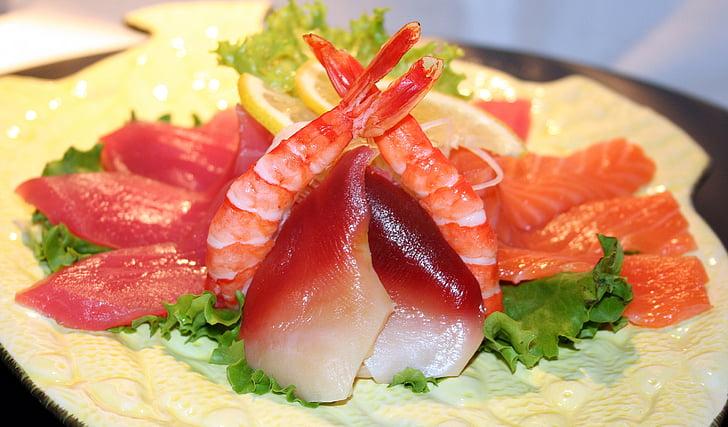 sushi, peix, crua, gambes, àpat, asiàtic, japonès