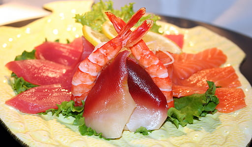 Sushi, pesce, crudo, gamberetti, pasto, asiatiche, Giapponese