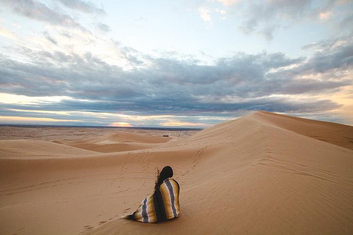 pessoas, mulher, sozinho, viagens, aventura, areia, deserto