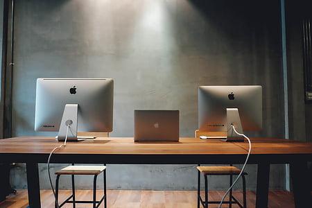 ワークスペース, デスク, コンピューター, ノート パソコン, デスクトップ, テーブル, 事務所