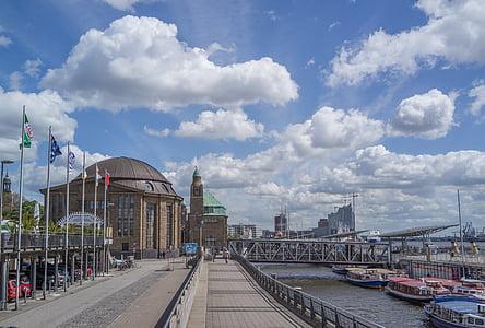 Hamburg, kínáló, kikötőváros, Hamburg kínáló, Elba, Hanza-város, víz