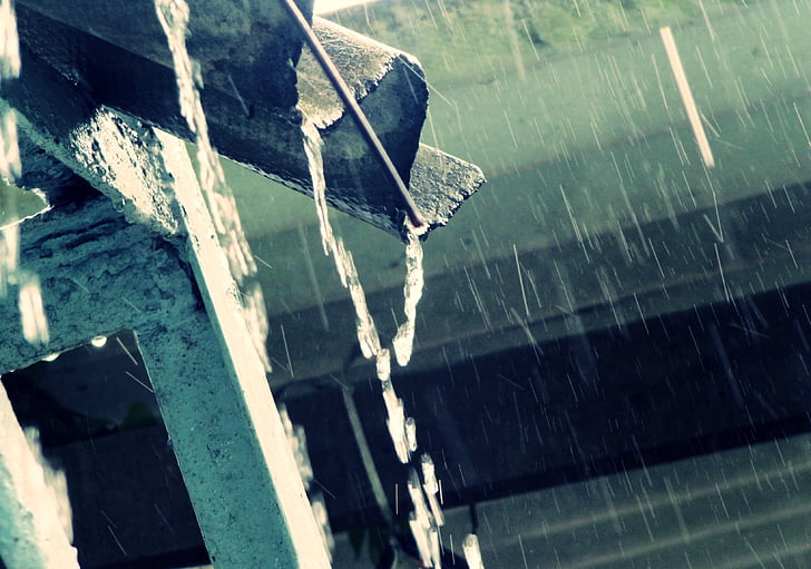 pluja, gota de pluja, gotes, blau, casa, l'aigua, natura
