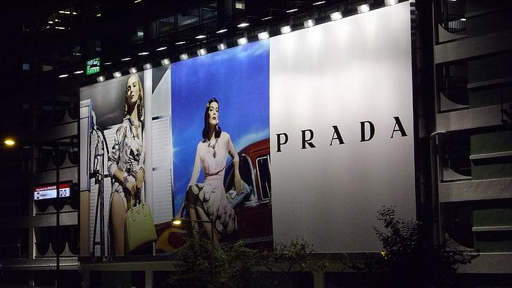 advertising, prada, billboard, advertisement, outdoor, women