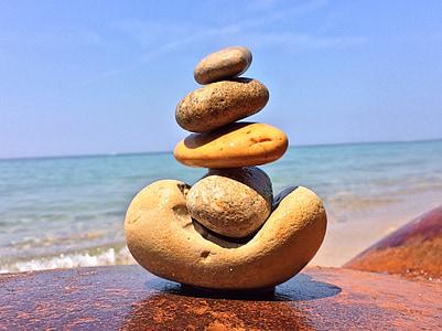 pierres, empilé, Balance, plage, mer, Pebble, nature