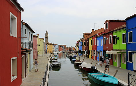 burano, อิตาลี, ช่อง, เรือ, สี, เวนิส, บ้าน