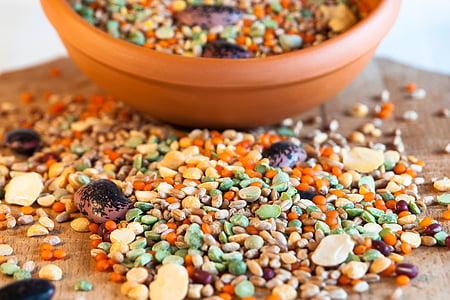 Grain, spannmål skål, böna, bönor, mat, friska, ekologisk
