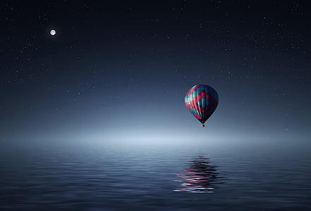 per sobre de, aventura, aèria, aire, sorprenent, globus, cistelles