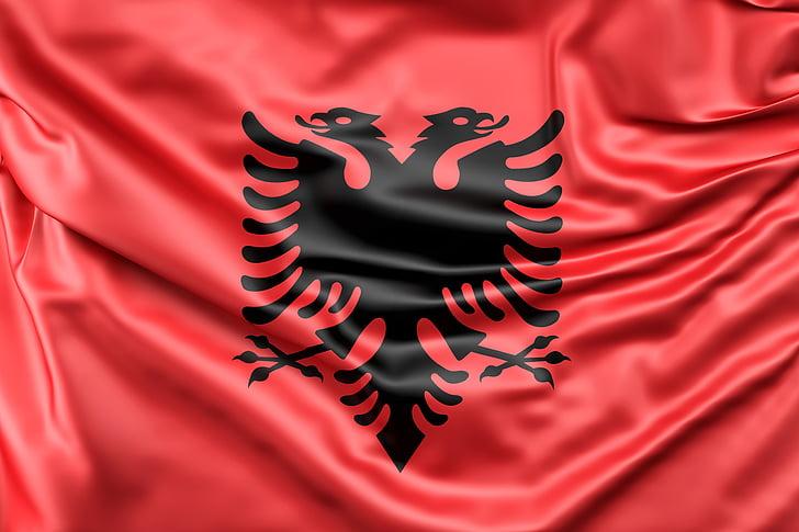 albania, flag, europe, red, silk, sign, symbol