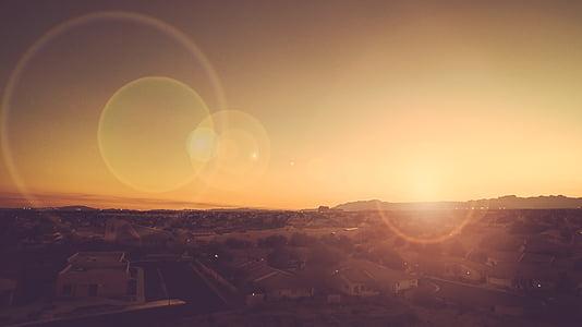 lente, effetto, flare, tramonto, di sopra, città, urbano