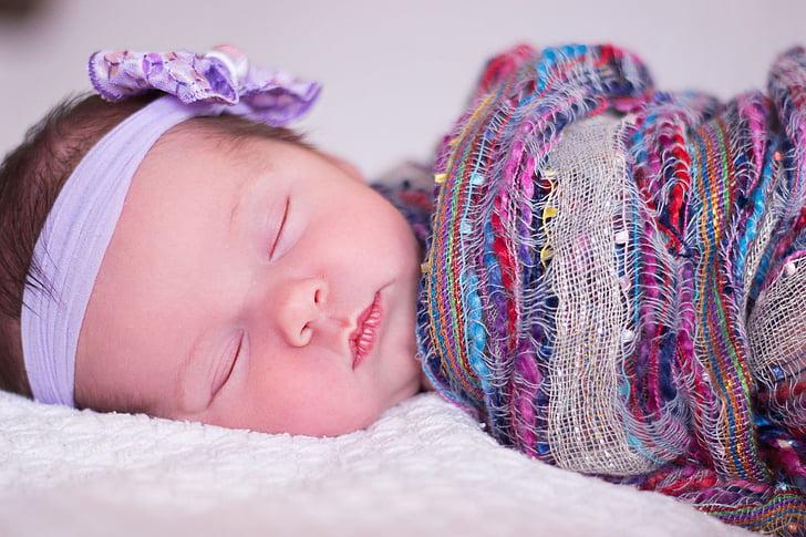 Baby, Kaunis, voodi, lapse, kate, Nunnu, pere