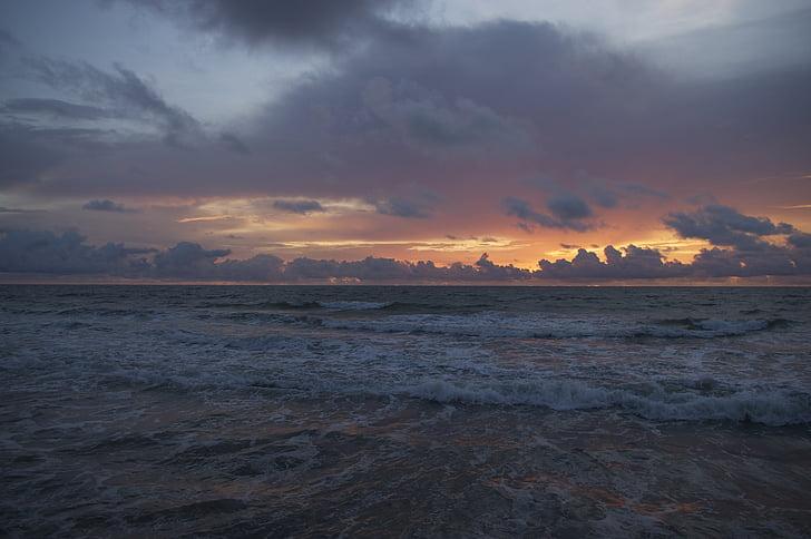 havsutsikt, soluppgång, Ocean, havet, vatten, stranden, moln