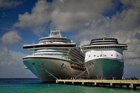 krydstogtskibe, Caraibien, rejse, skib, søen, krydstogt, Ocean