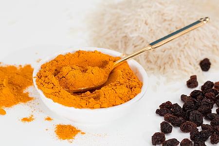 kurkuma, začin, curry, začin, sastojak, prah, kuhanje