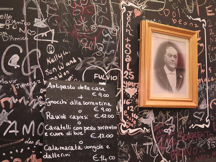 menüüd, Itaalia, Restoran, kriiditahvel, menüü juhatuse