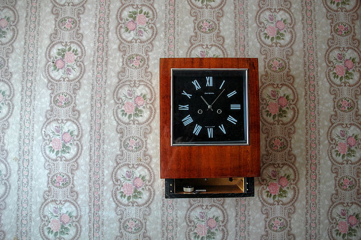 still life, clock, retro, wallpaper, 70th, antique, retro look