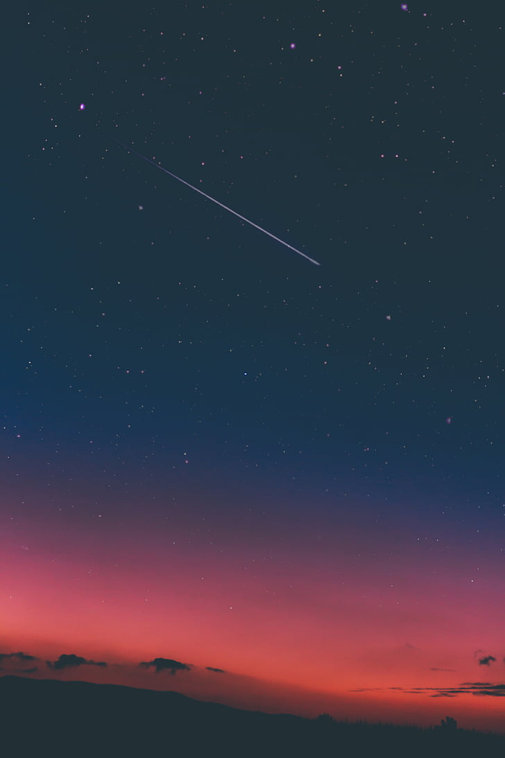 montanha, Highland, nuvem, céu, estrelas, naturezas, estrela - espaço